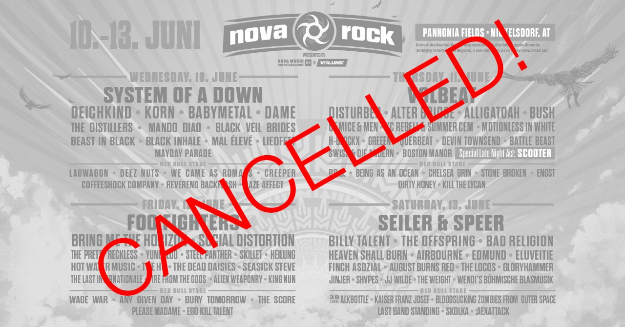NOVA ROCK 2020 cancelled